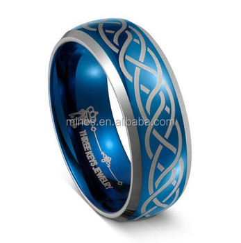 Blue Tungsten Ring 8mm Mens Carbide Wedding Band Dome Beveled Edge Celtic
