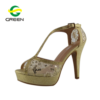 31aa33ee2cf58 Ladies Fancy Kitten Heel Gold Sandals