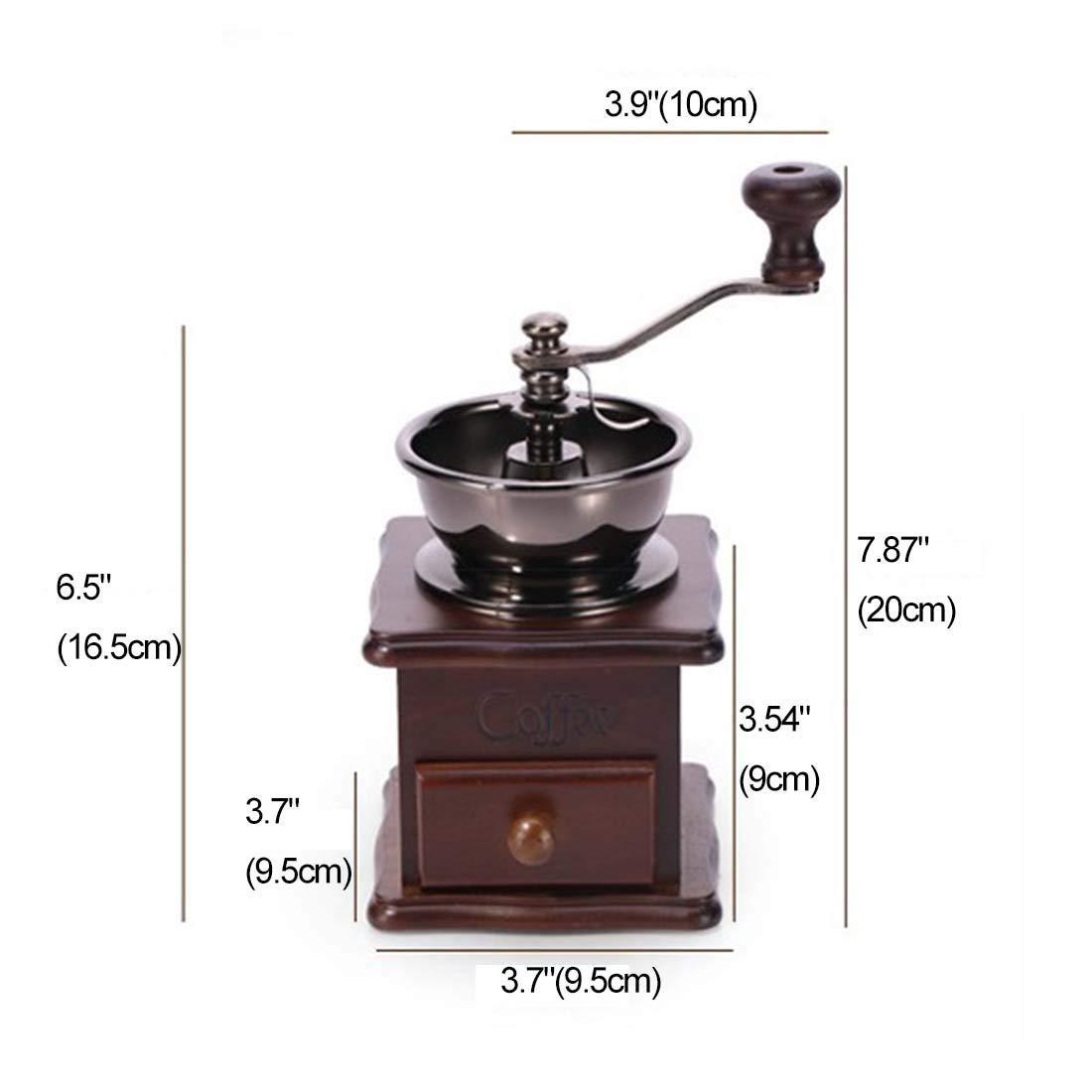 Vintage Style Manual Hand Grinder Coffee Grinder,Manual Coffee Grinder With Catch Drawer,Adjustable Grind