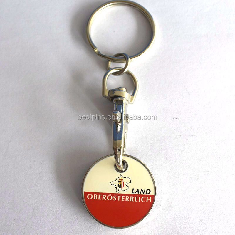 custom printed logos shopping cart trolley token with keyring promotional gift