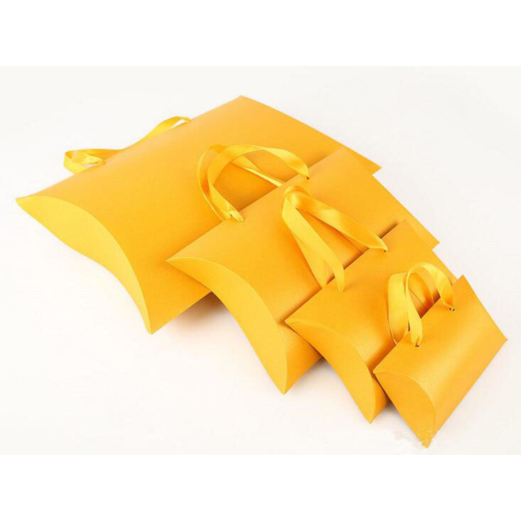 Ladies Unique Hair Extension Paking Gift Paper Pillow Bag with ribbon handle