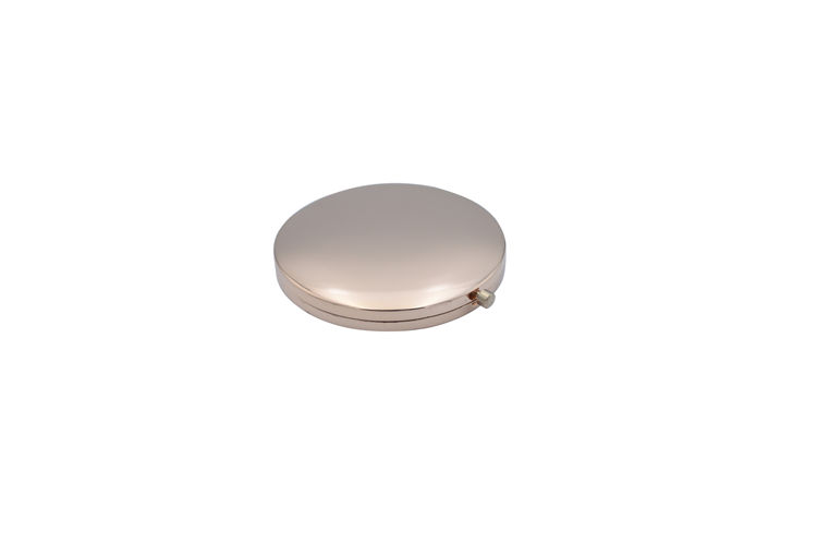 Fashion small round shape compact metal gold pocket mirror+portable folding circle shaped pocket mirror