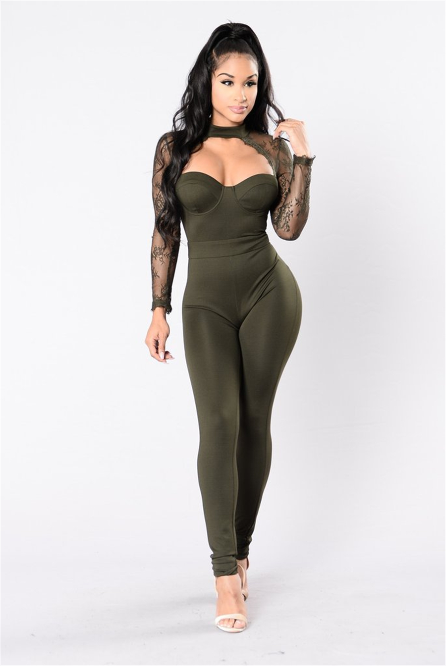 ce90ca21a6f Sexy Woman Jumpsuit Rompers Splicing Women `s Leotard Womens Jumpsuit  Halter Long Sleeve Lace Sexy Femininos Rompers