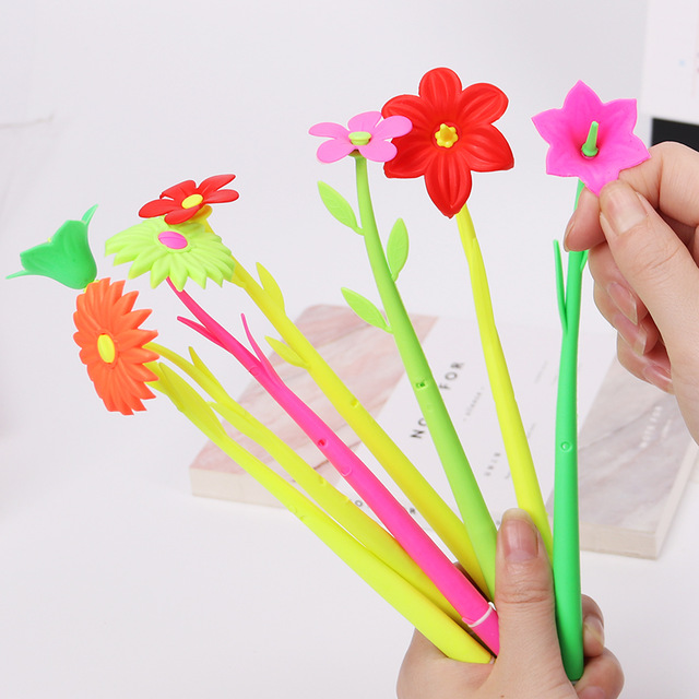 artificial Plant Flowers Soft Silicone Gel Pen for Writing Office School Supplies Black Ink 0.38MM Korean Stationery Signing Pen