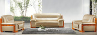 Cream white leather carved wood frame office sofa set, lobby sofa set (FOH-6603)
