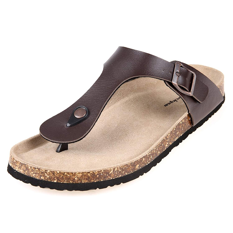 34a0d94f825 Get Quotations · Pinpochyaw Gizeh Sandals Mens Leather Thong Flip-Flops  Cork Sandals