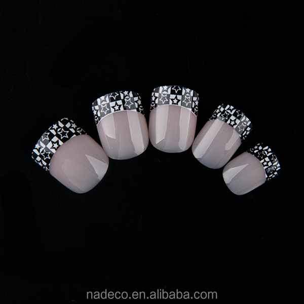 Nadeco Star French Manicure Tips Short Square Head Nails Art Sticker ...