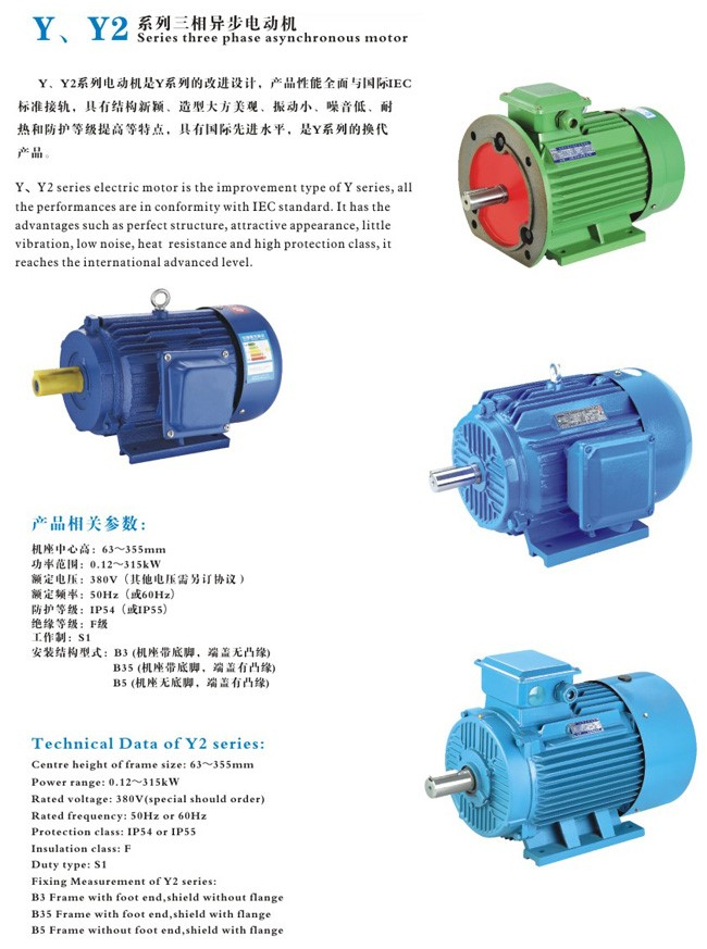 high qulaity Y2 series The three-phase asynchronous motor with squirrel-cage type rotor, totally enclosed and fan cooled