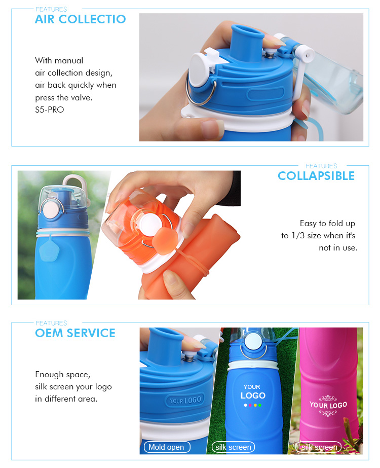 Wholesale BPA Free Foldable Silicone Sport Collapsible Water Bottle With Custom Logo