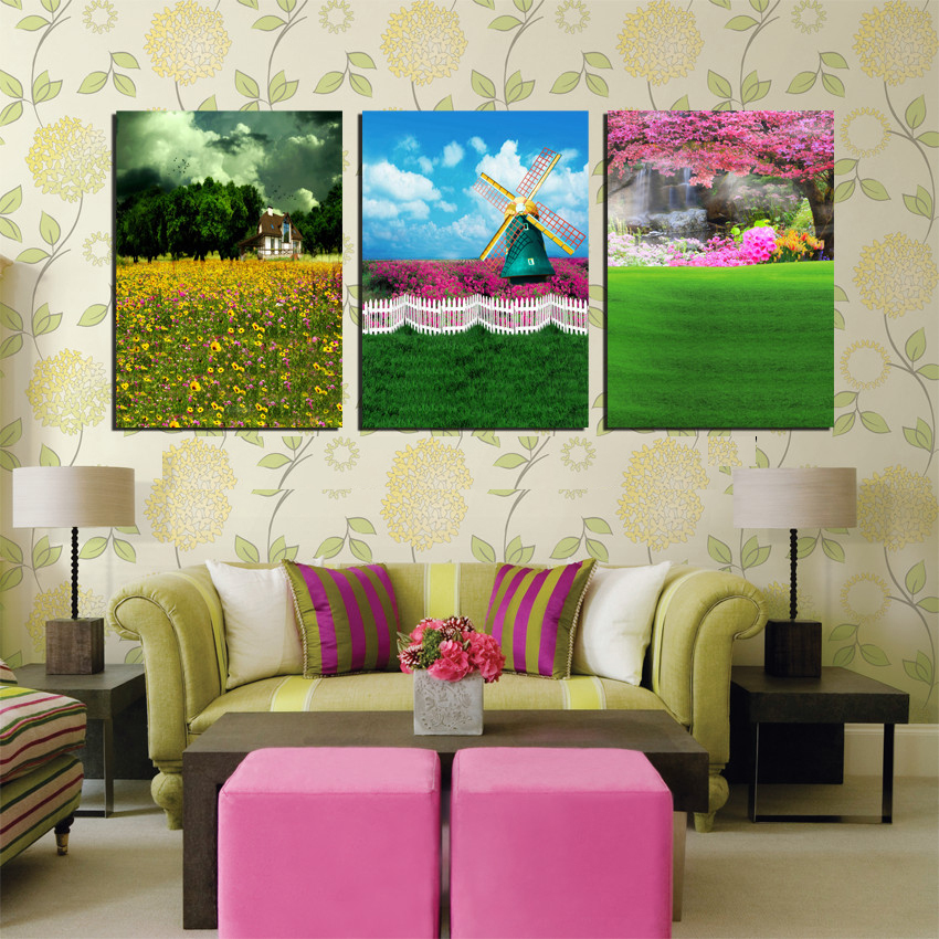 3 Piece Top Quality Large Flower Garden Painting Windmill on the Tulip Field Modern Wall Canvas Art Cool Home Decor Hot Sale
