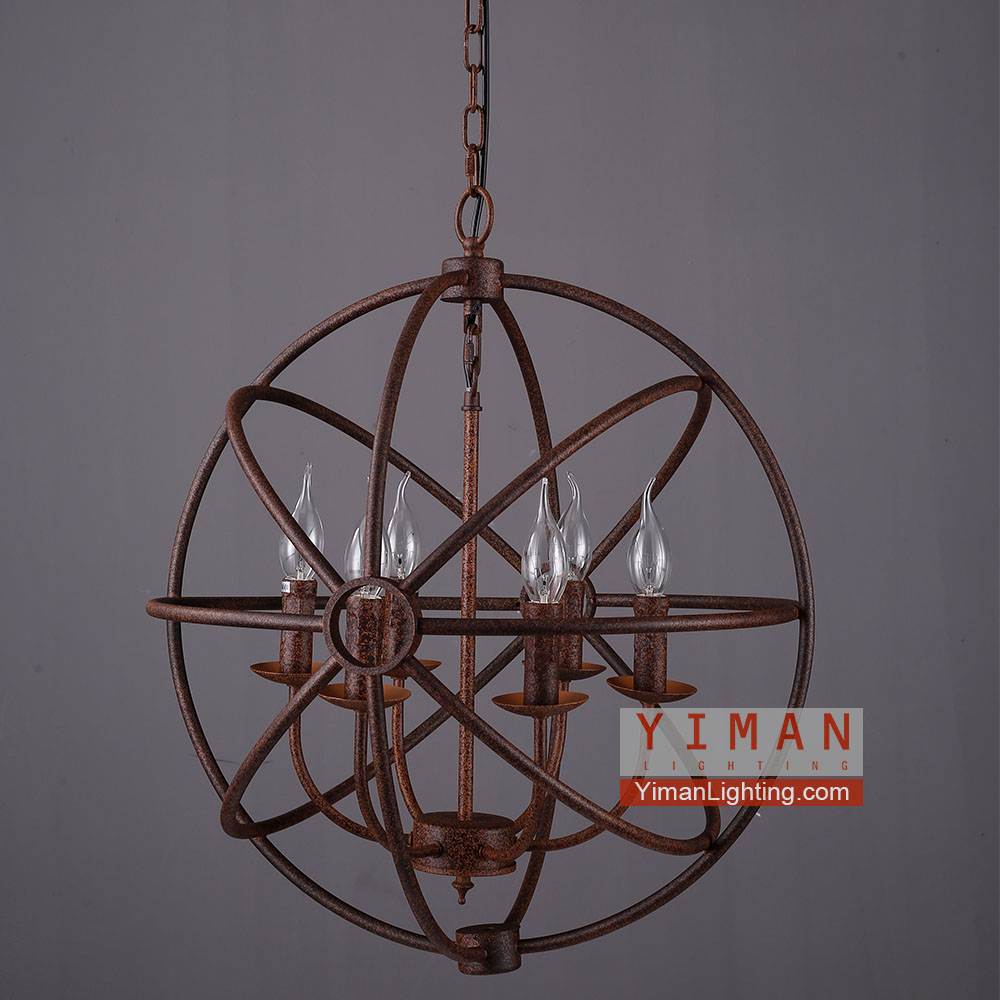 Ceiling Mount, Pendant Light, Antique metal wire cage lamp
