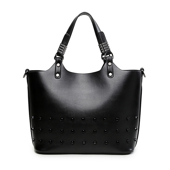 Genuine Leather Woman Handbag Real Cowhide Woman Composite Bag Solid Leather Woman Shoulder Bag with Rivet Woman Bag HWB12