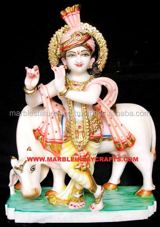 Makrana Marble Krishna Statue On Cow White Marble Krishna God Statue - Buy  Krishna Idol Murti,White Marble Krishna Idol,Hindu Krishna Statue Product