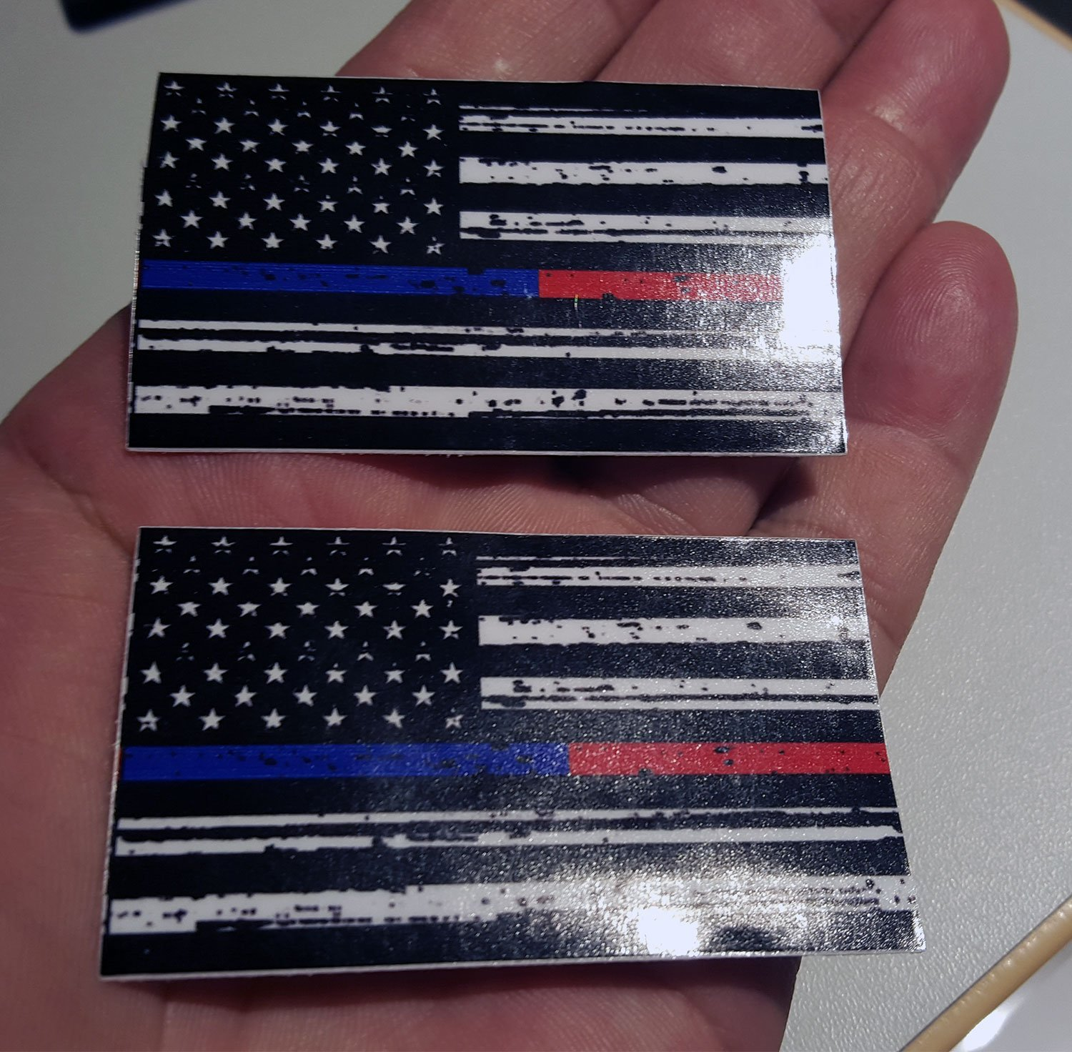 """MINI Distressed Tattered Stressed 2.5""""x1.5"""" THIN BLUE LINE POLICE & THIN RED LINE FIREFIGHTER DECAL Respect and Honor Law enforcement First Responder US flag DECAL USA (2 pack)"""