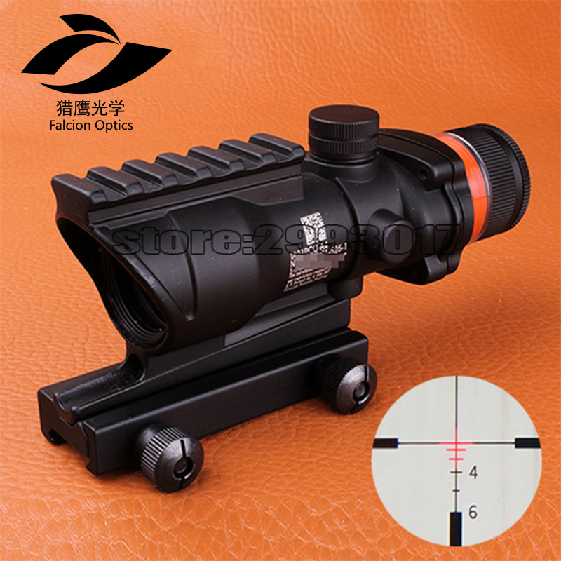 Fyzlcion Hunting ACOG 4X32 Scope Real Fiber Optic Red Green Illuminated Weaver Picatinny Rail Mount Tactical Riflescope For Air, Black