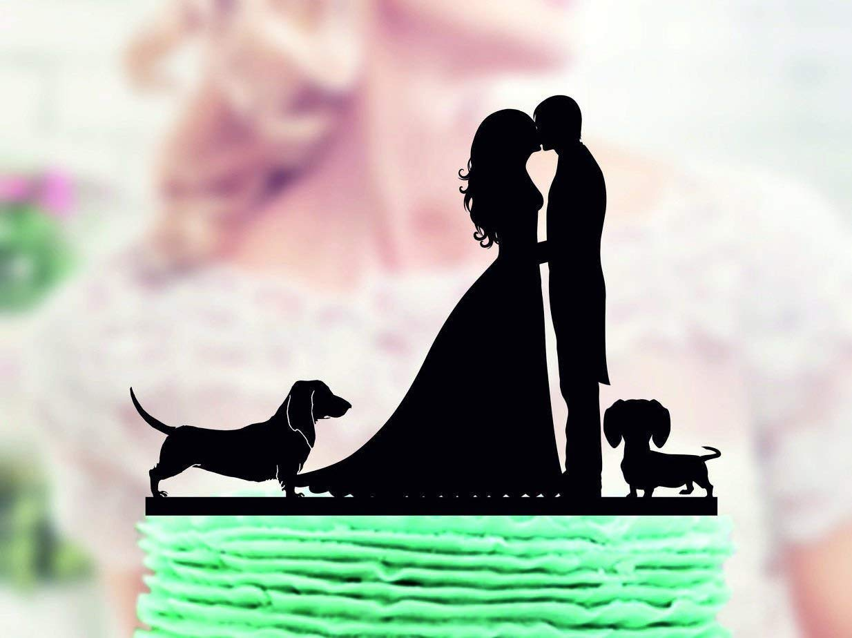 Buy Wedding Cake Topper With Two Dogs Dachshund Couple With Dog