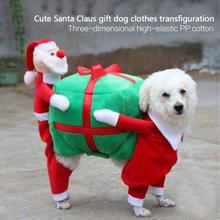 Pet Christmas Costumes Funny Santa Claus Dog Clothes Dog Carrying Gifts Clothes Warm Winter Dog Clothes