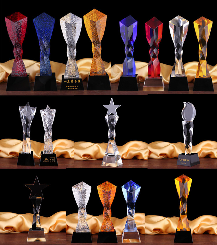 Hot Sale Customized Blue Heart star twist column crystal trophy prism crystal awards and medal / twist column crystal trophy