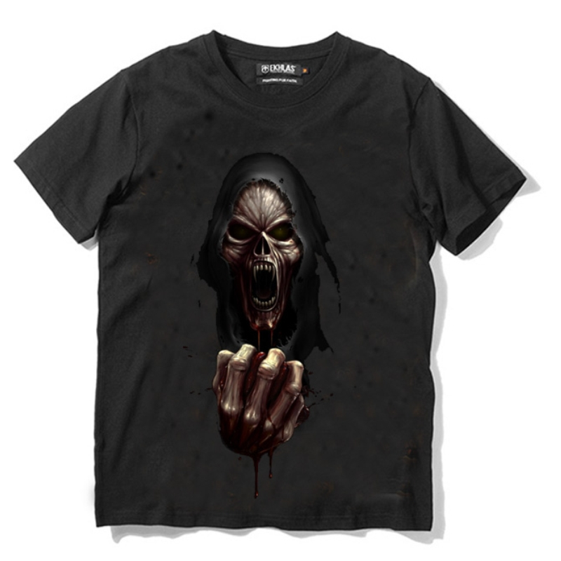 2015 summer men fashion the terrorist skulls loose printed cotton T-shirt man t shirts brand summer transparent shirts for men