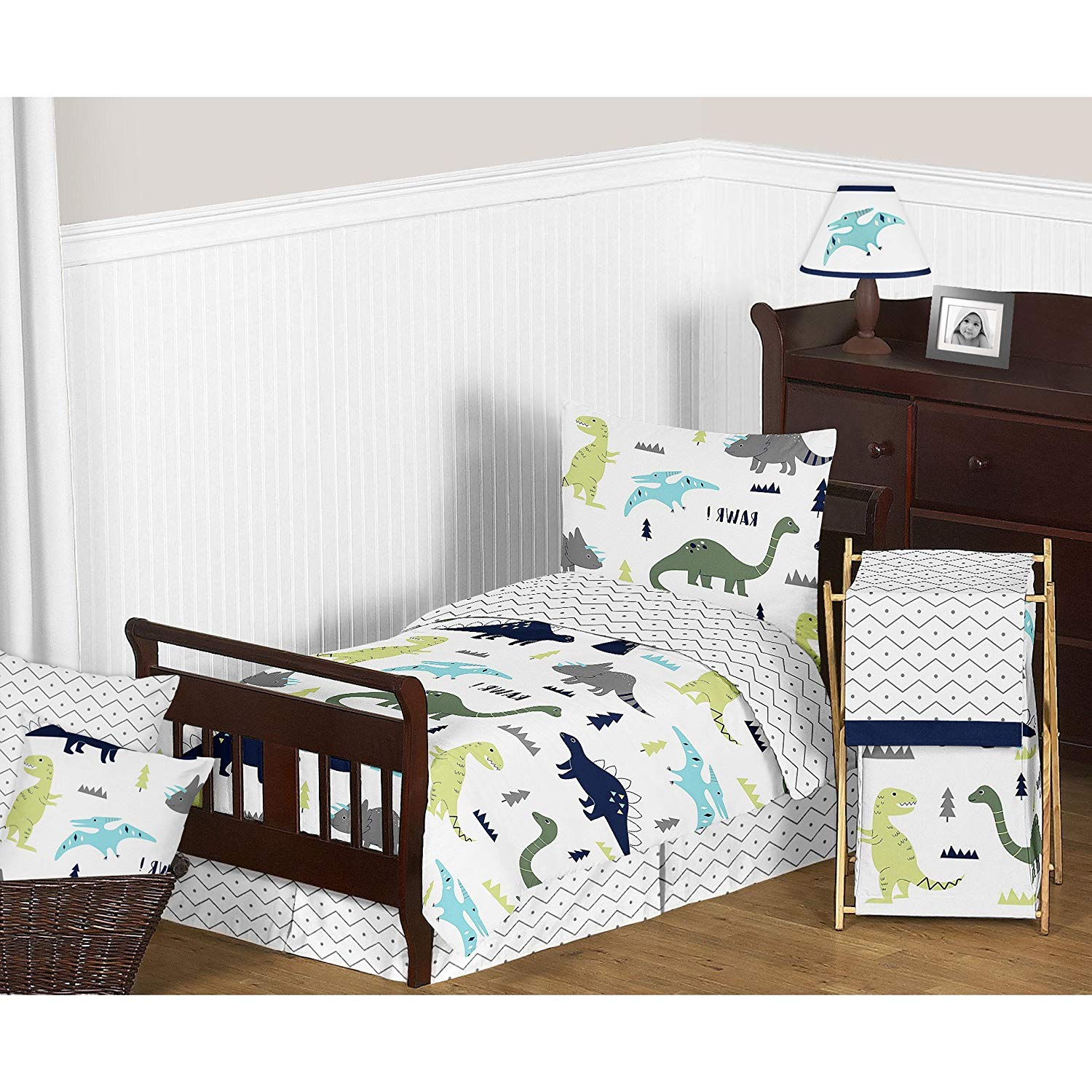 L&M 4 Piece Kids Blue Green Dinosaur Comforter Set Twin, Grey Teal Dinosaurs Bedding Cute T-Rex Stegosaurus Long Neck Design Gray White Chevron Reptile Pattern Zigzag Ikat Jacquard, Polyester