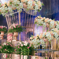 customized artificial hydrangea plus rose flower arrangement wedding backdrop silk flower arrangement for wedding decoration