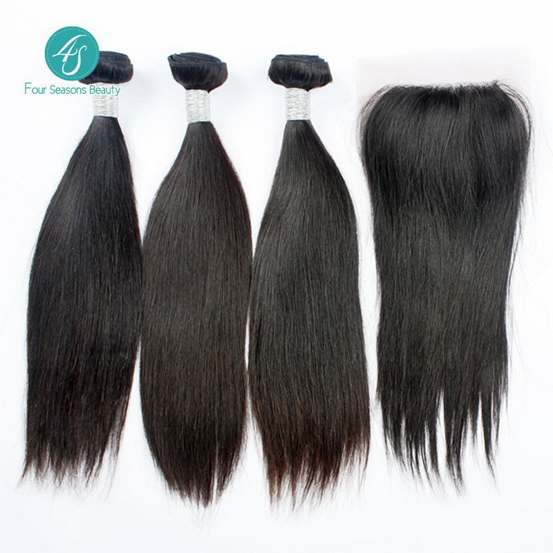 6A Unprocessed Brazilian Straight Hair Lace Closure Natural Color Free Shoipping Full Hand Brazilian Virgin Hair