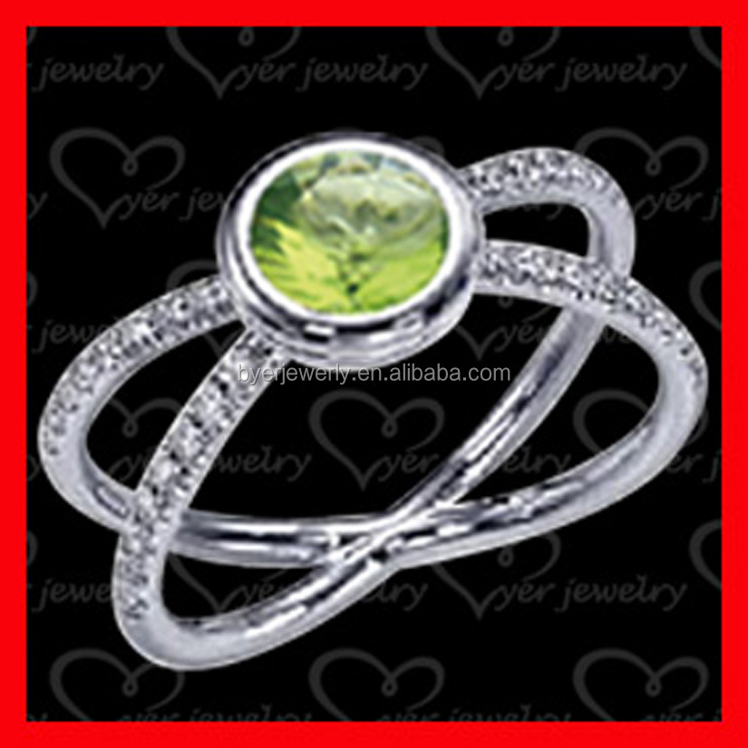 925 Sterling Silver Jewelry Green Zirconia couple Ring Set Wedding ring for women
