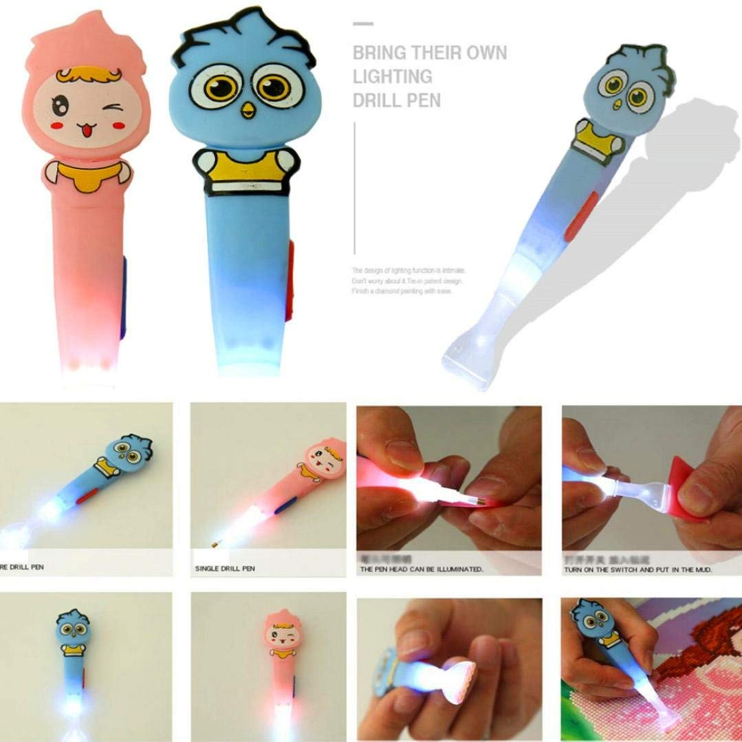 Glowing Cartoon DIY Drill Pen - Franterd Diamond Painting Tools - 5D Diamond Painting Accessories Diamond Cross Stitch Kits DIY Diamond Painting Stitch Pen (Pink)