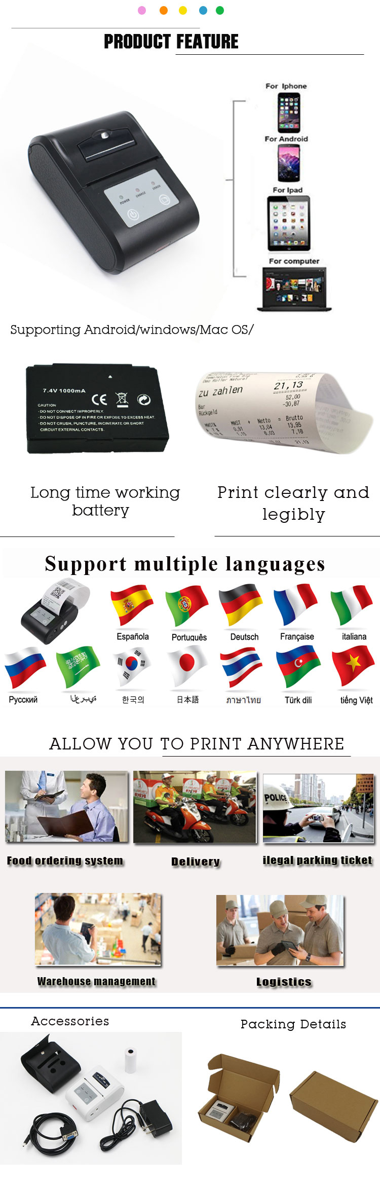 Android Bluetooth Wireless 58mm Portable Thermal Printer Support Esc/pos  Commands - Buy Android Bluetooth Printer,Portable Bluetooth  Printer,Portable