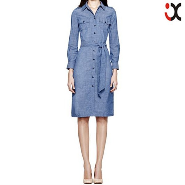 2015 Bohemian blue buttons long sleeve waistband women long dress jeans new fashion ladies dress JXQ868