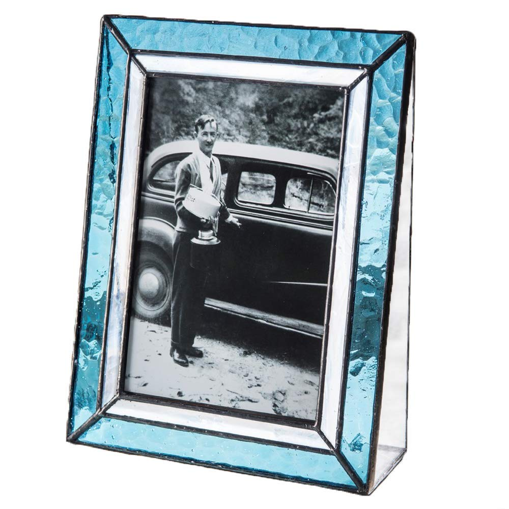 J Devlin Pic 401-46V Light Blue Stained Glass Tabletop Picture Frame Keepsake 4x6 Vertical Photo