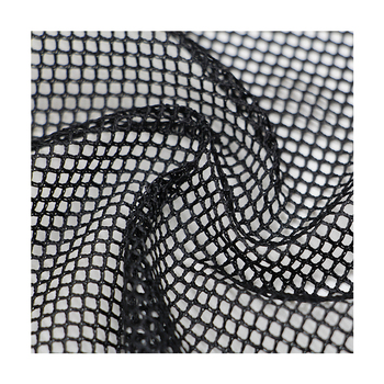 Factory wholesale black fishnet stockings material 100% polyester net tricot garment mesh fabric by the yard