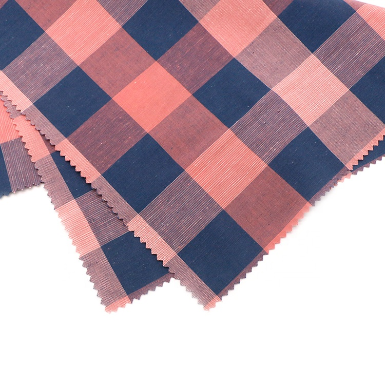 88%Cotton12%linen gingham plain yarn dyed fabric
