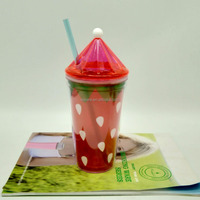 wholesale single wall plastic tumbler with colorful straw plastic cups