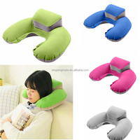 Portable Inflatable Pillow PVC Flocking U Shape Pillow for Outdoor Sport