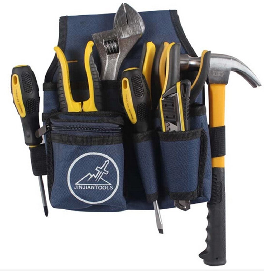 Blue Canvas Mutifunctional Electrician Tool Bag Durable Waist Pocket Tools Pouch