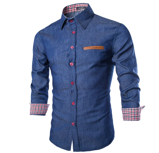 Autumn New Fashion Men Slim Fit Jeans Shirt High Quality Casual Shirt