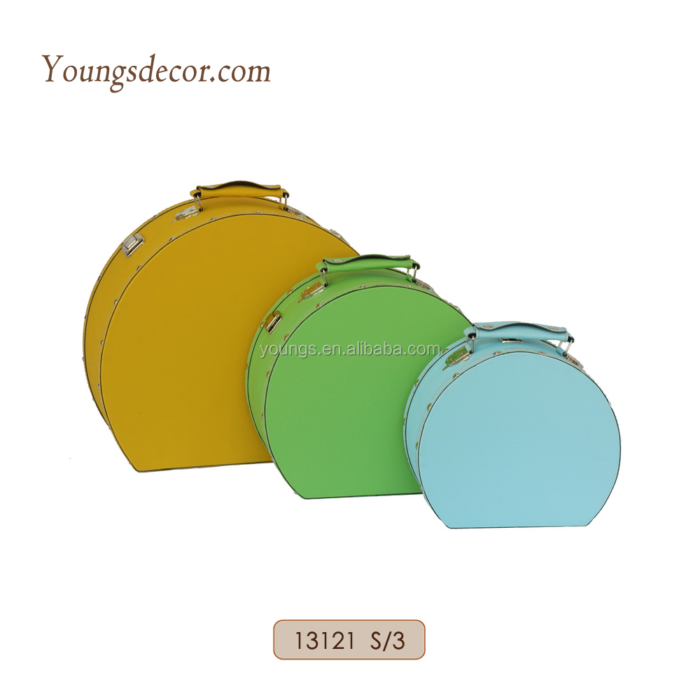 Small Round Colorful Leather Covered Decorative Wooden Hat Boxes with Handle