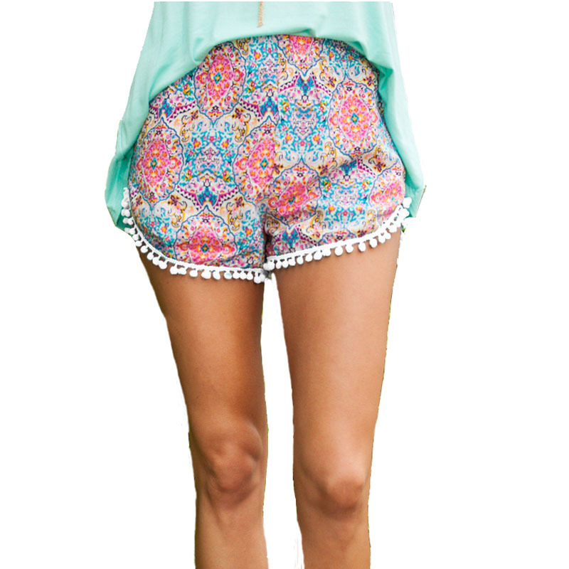 Casual Printed Shorts Women Summer Style 2015 Beach Wear Shorts Flower Shorts Pink Black for Women Tassel Short Trousers 2981