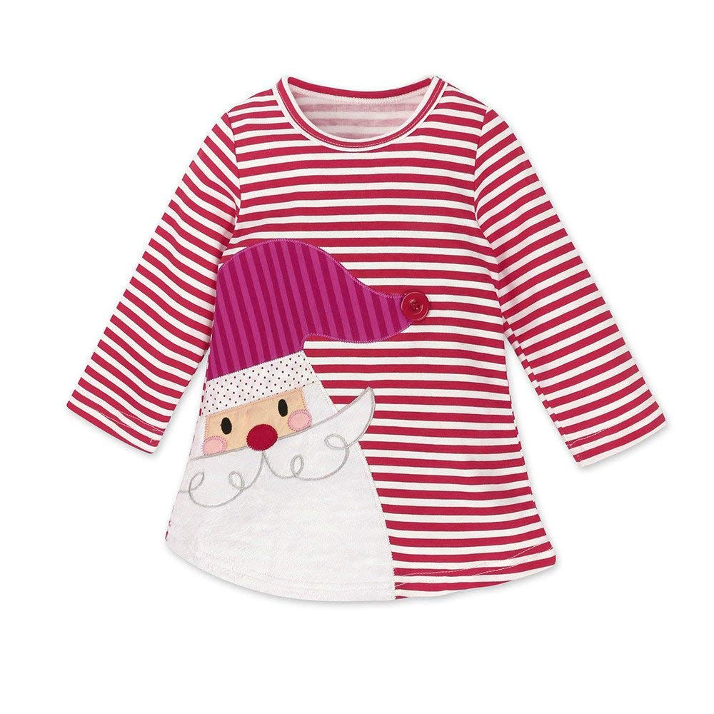❤️Mealeaf❤️ Toddler Kids Baby Girls Santa Striped Princess Dress Christmas Outfits Clothes (4-5 Years Old, Red)