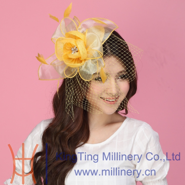 Wholesale Ladies Bright Yellow Sinamay/Organza Fascinators With Feather And Net