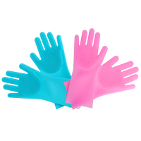 Kitchen Heat Resistant Brush Scrubber Silicone Magic Dish Washing Cleaning Gloves