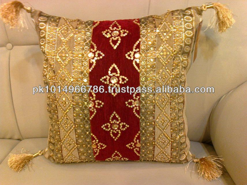 Cushion Cover Handmade Embroidered Sequins Beaded New Latest Design