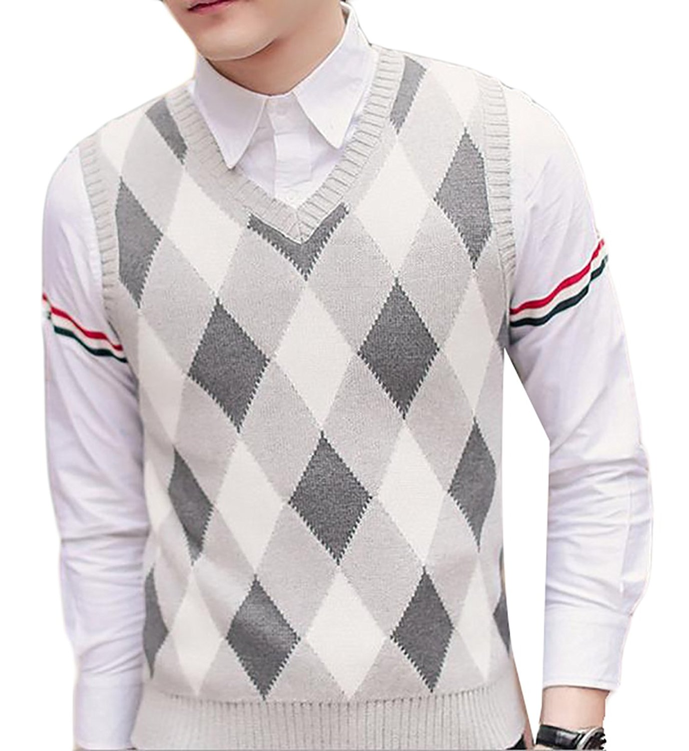 760d774c9db2cb Get Quotations · Fulok Mens Sweater Vest Plaid Pattern Thicken V-neck Knitted  Pullover