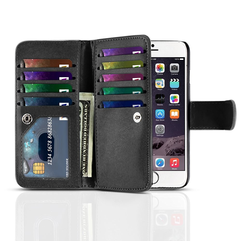 "TNP iPhone 6s Wallet Case (Black) - Flip Synthetic Leather Wallet Pocket Case 2-In-1 Magnetic Detachable Back Cover with Built-in 9 Card Slots for Apple iPhone 6 and iPhone 6S 4.7"" Devices"