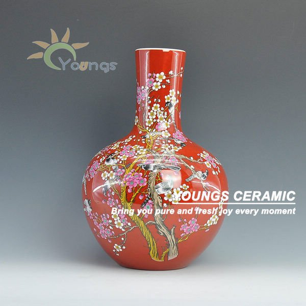 Beautiful Home Decoration Chinese Red Vases Made In Jingdezhen Buy