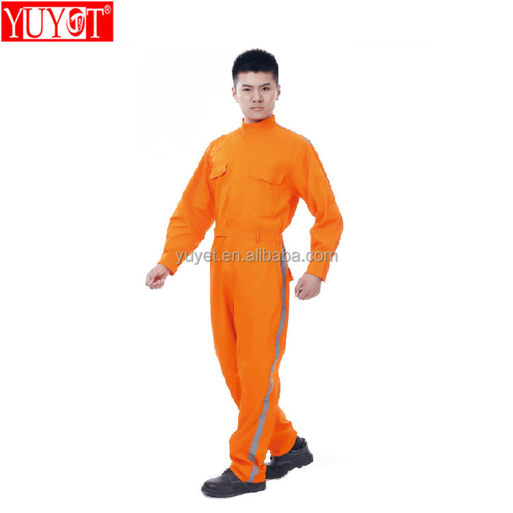 wholesale workwear 100% cotton high quality safety <strong>orange</strong> hi-vis coveralls