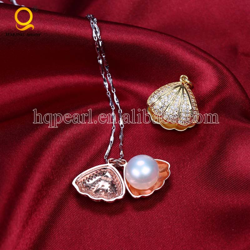 S925 chain necklace jewelry with pearl cages