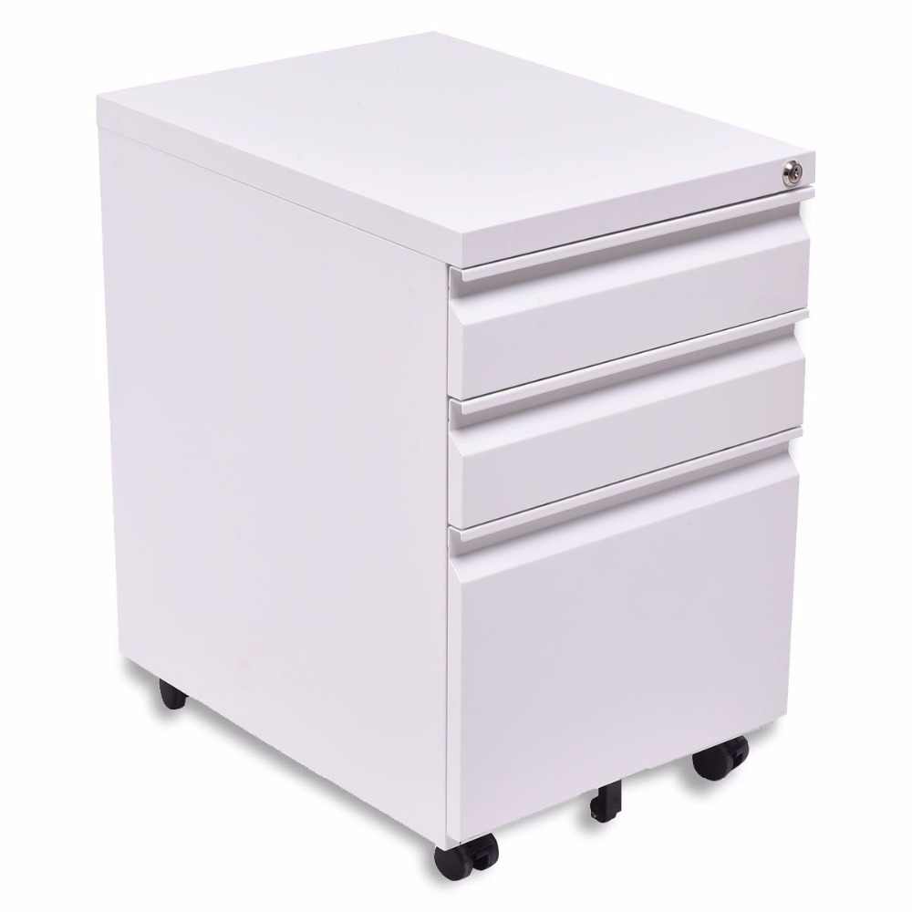 White Color Nice-looking Small Office Storage Furniture/ Mini Metal File  Cabinet With 3 Drawers And Wheels - Buy Steel Storage Cabinets With
