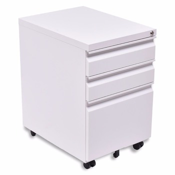 White Color Nice Looking Small Office Storage Furniture Mini Metal File Cabinet With 3 Drawers And Wheels Steel Cabinets